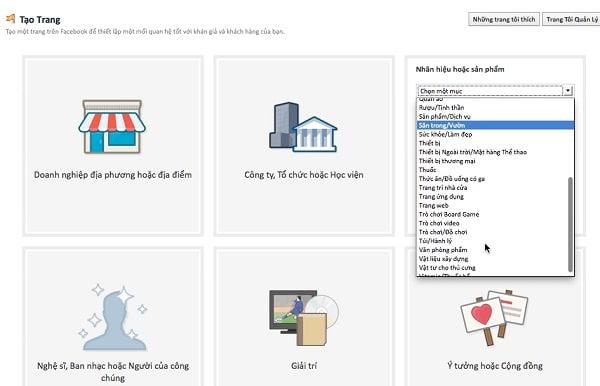 chọn danh mục bán hàng online trên fanpage