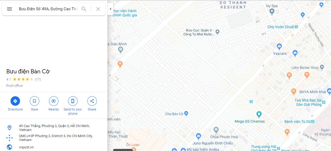 địa chỉ bưu điện bàn cờ