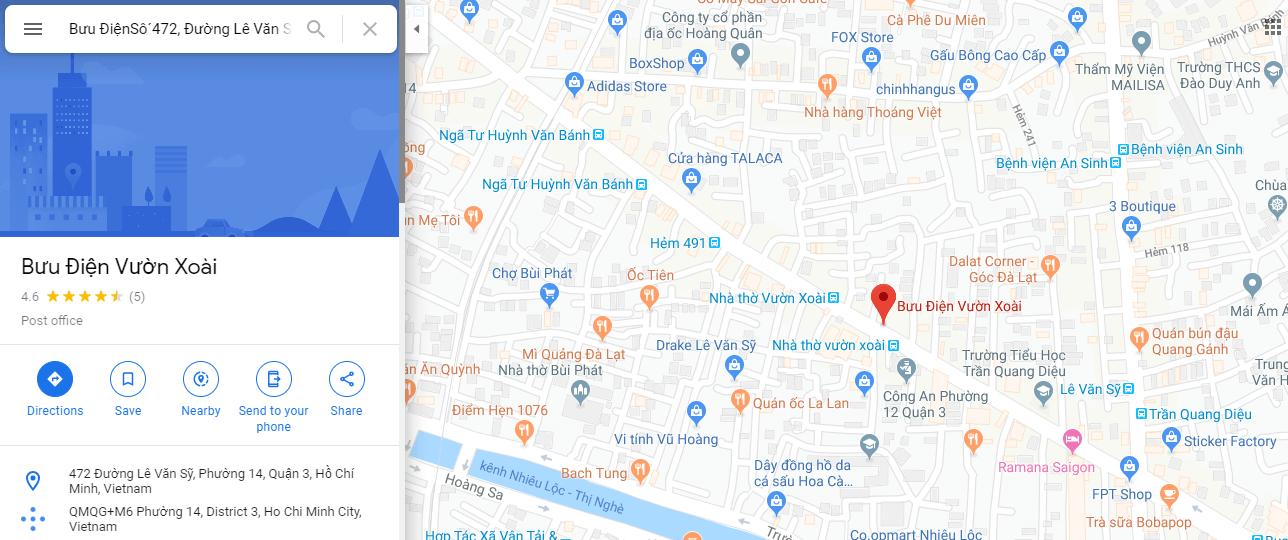 địa chỉ bưu điện quận 3 ba huyện thanh quan