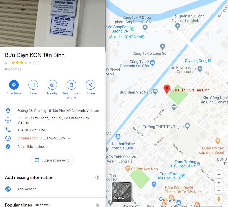 danh sách bưu điện quận tân bình