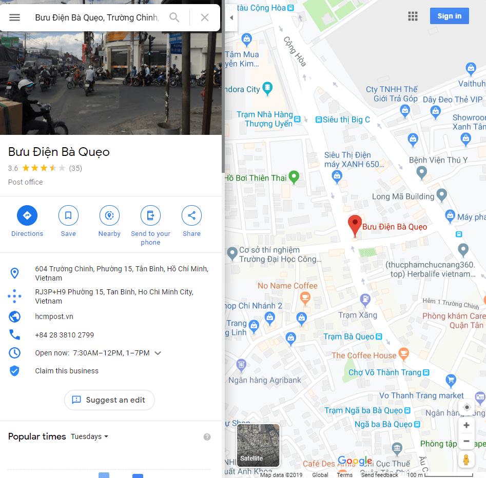 địa chỉ bưu điện tân bình