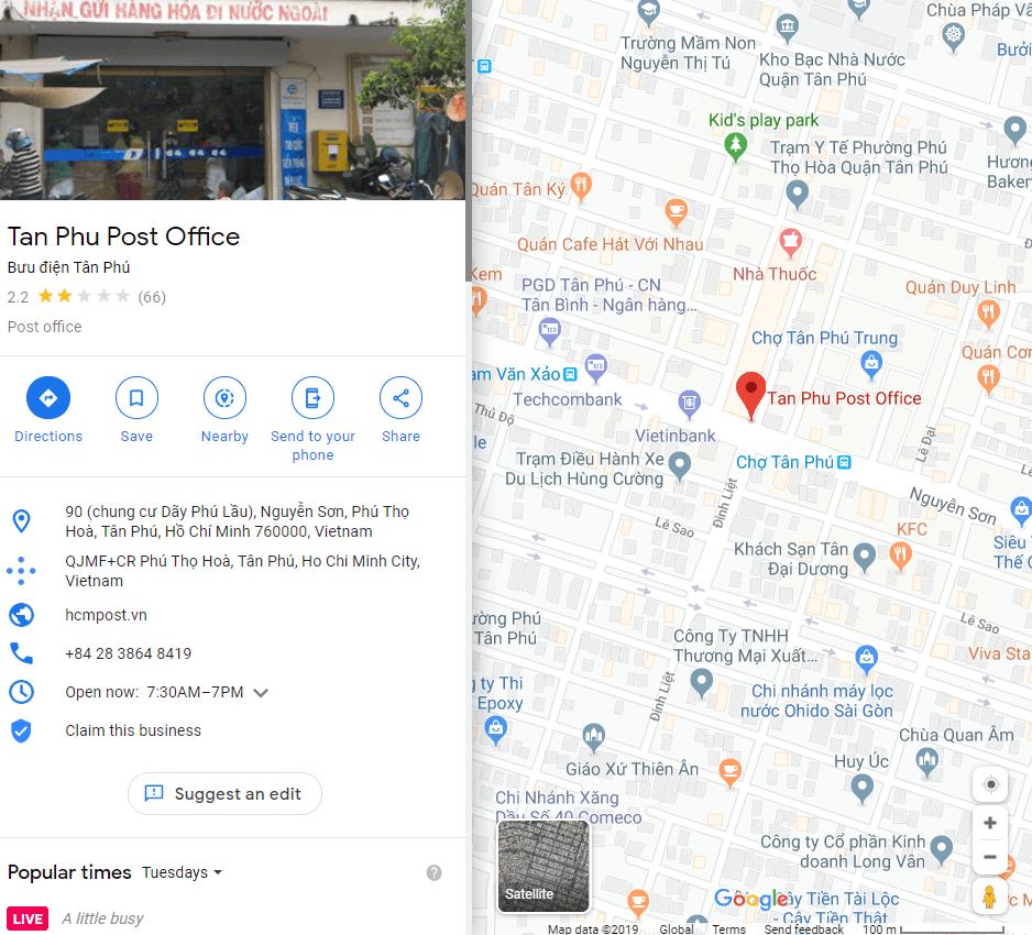 địa chỉ bưu điện tân phú tphcm