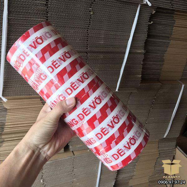 """Băng Keo in chữ """"Hàng Dễ Vỡ"""" màu Trắng-Đỏ (1 cây = 6 cuộn)"""