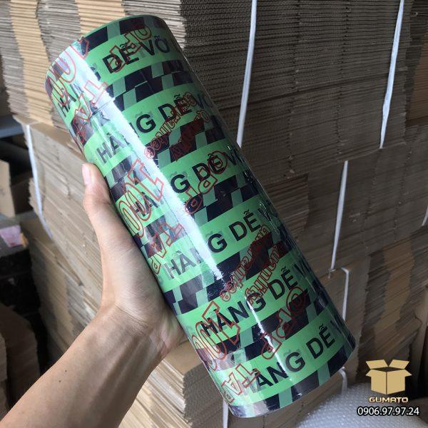 """Băng Keo in chữ """"Hàng Dễ Vỡ"""" màu Xanh-Đen (1 cây = 6 cuộn)"""